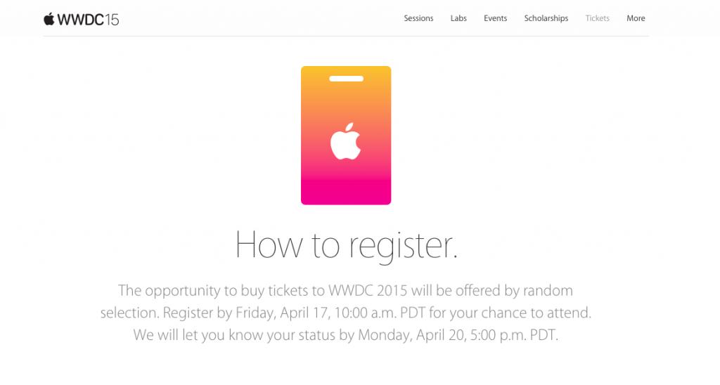 Apple WWDC チケット発売