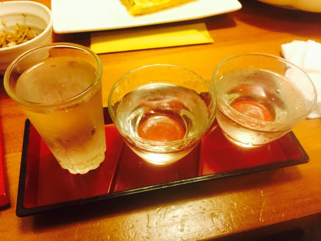 魚々匠の日本酒飲み比べ